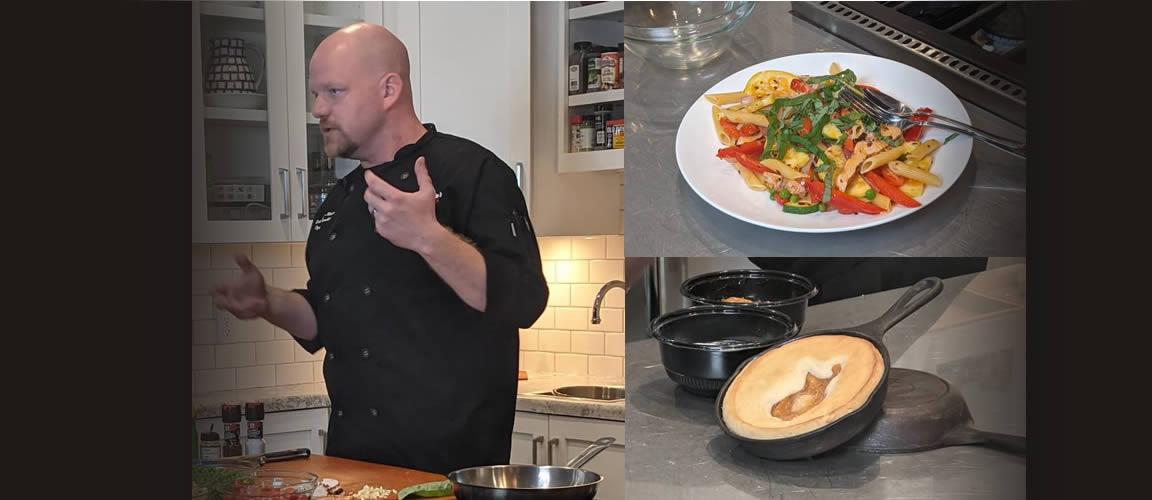 July's Market Fresh Meal: Chicken & Veggie Pasta Primavera & Skillet Baked Peach Cobbler