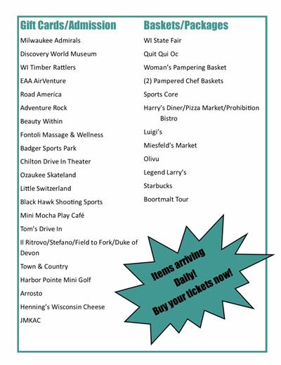 2021 Spring Luncheon Raffle List